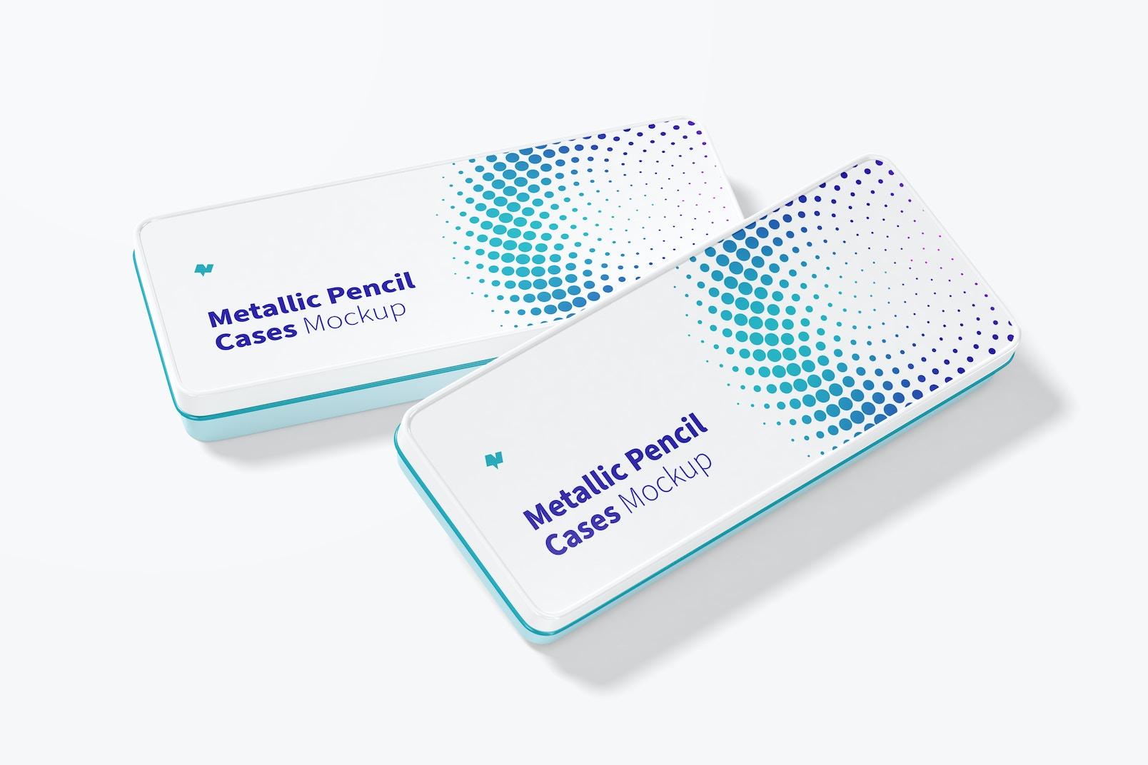 Metallic Pencil Cases Mockup, Top View