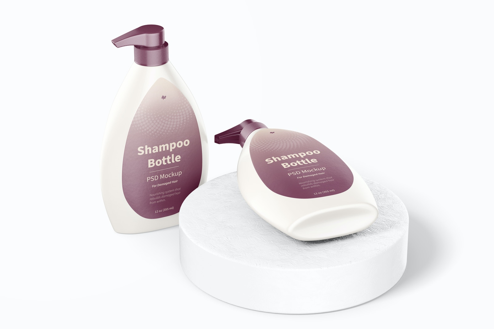 Shampoo Bottle with Pump Mockup, Standing and Dropped