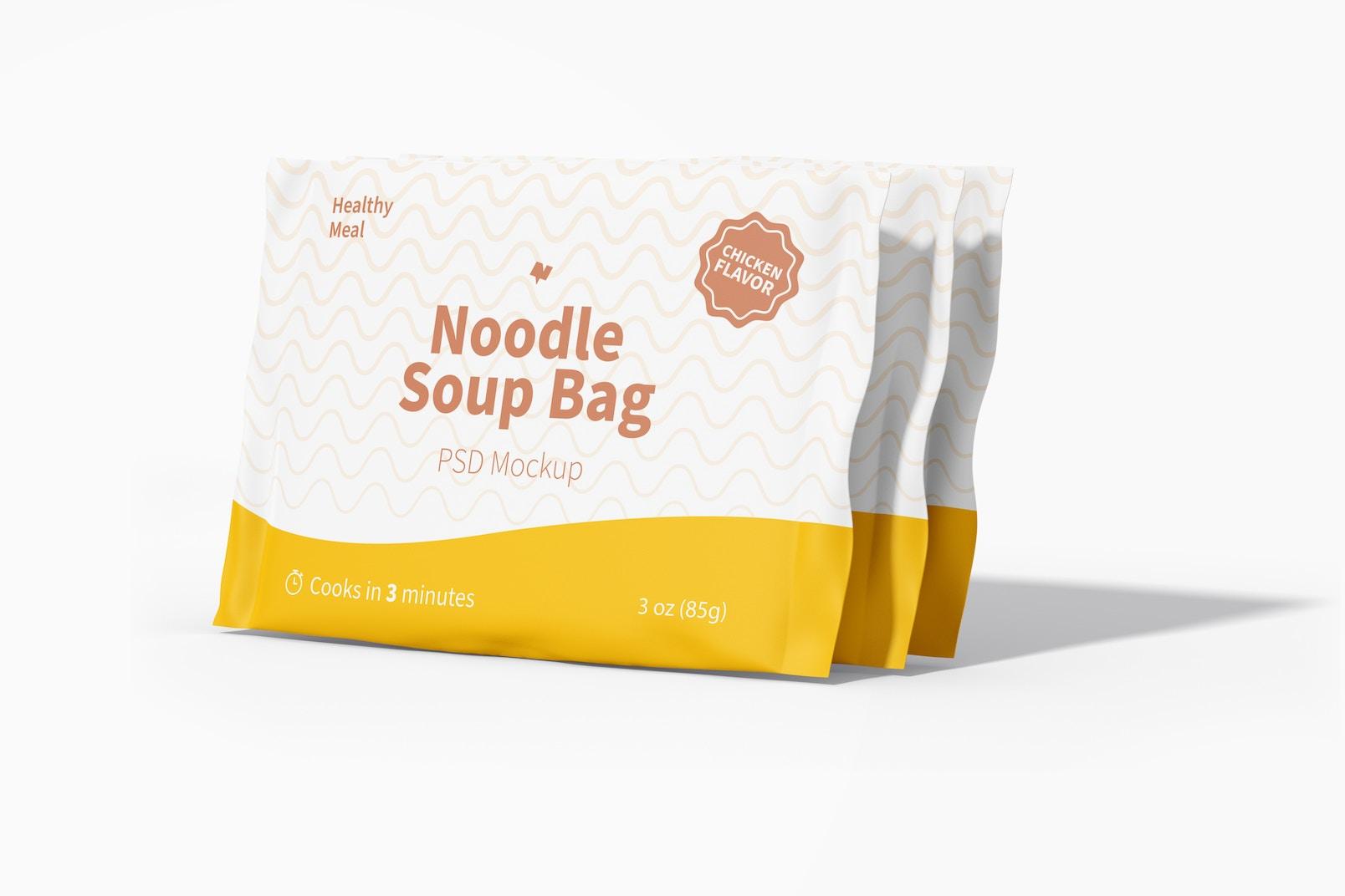 Noodle Soup Bags Mockup, Left View