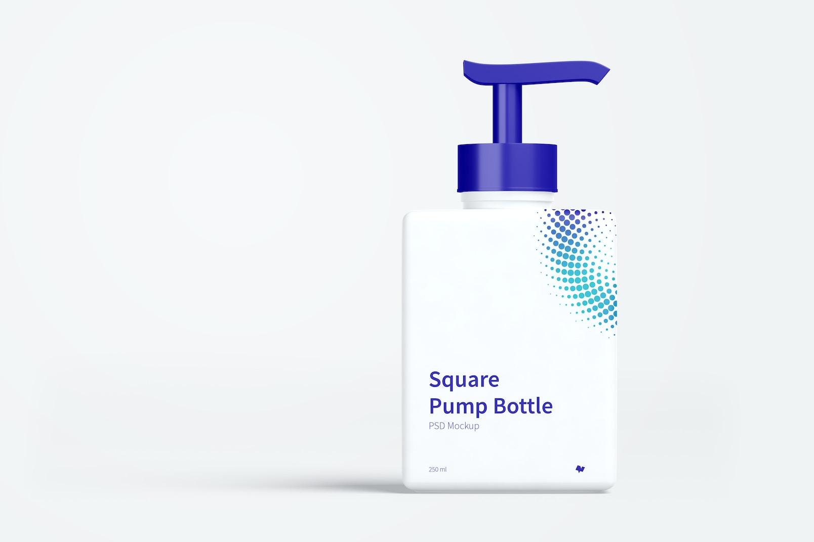 250 ml Square Pump Bottle Mockup, Front View 03