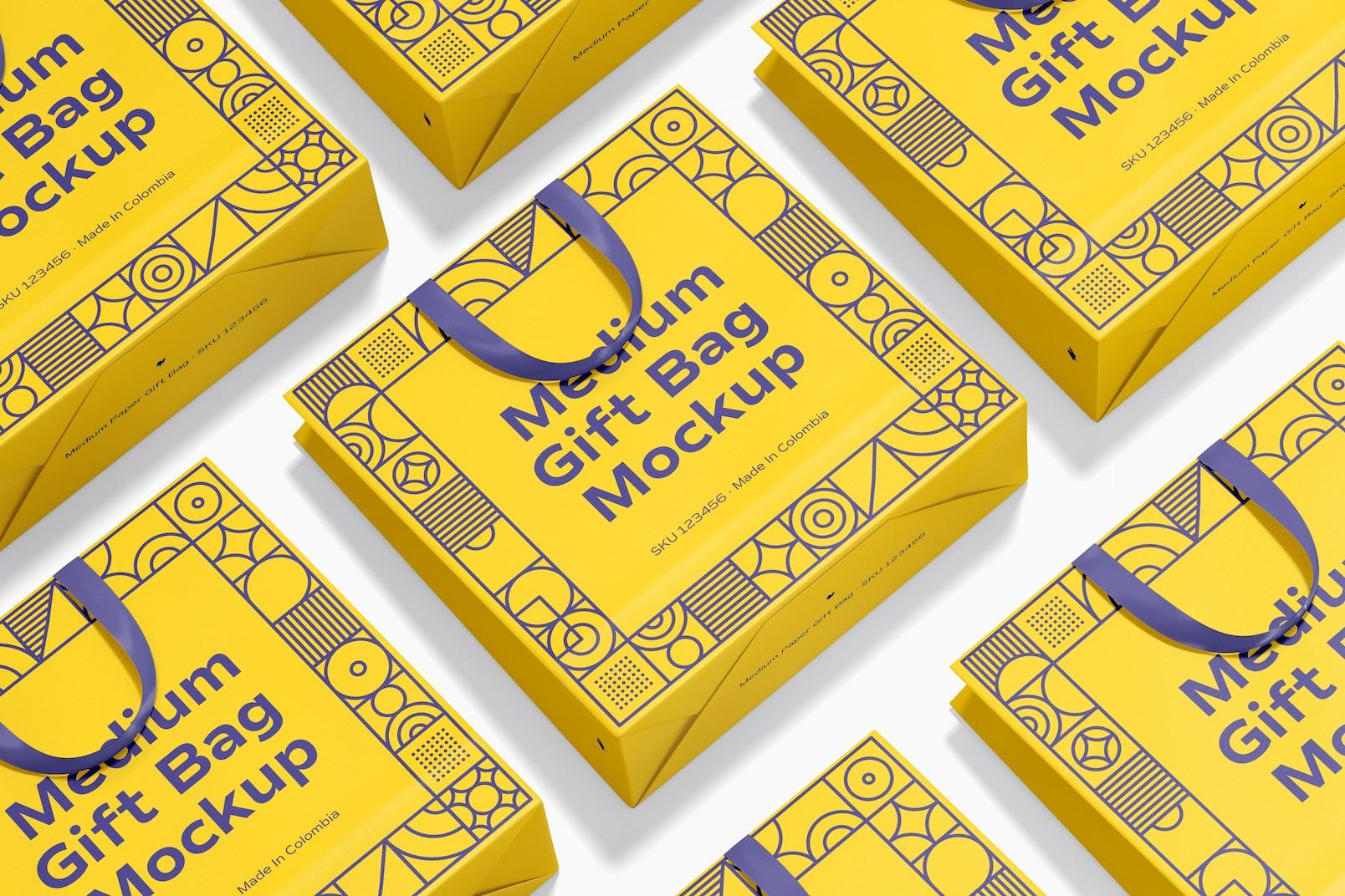 Medium Gift Bag with Ribbon Handle Mockup
