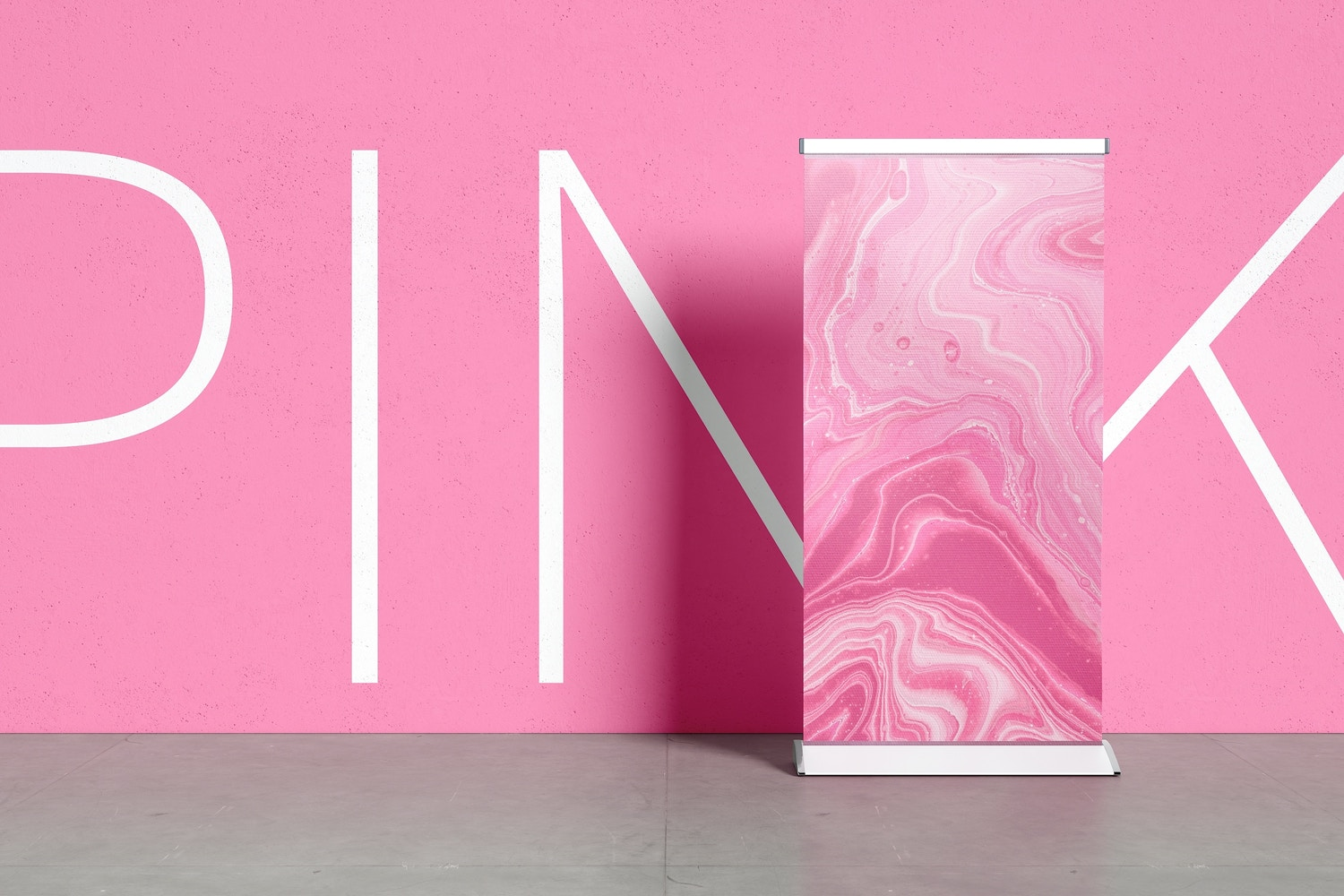 Use the background wall to place any design that complements the banner mockup