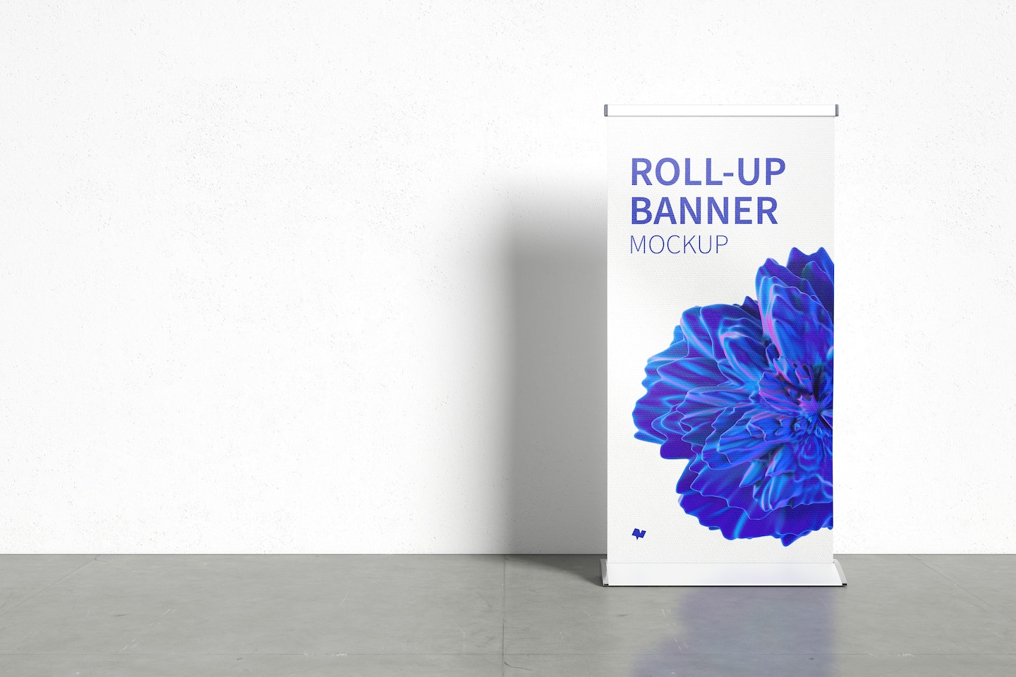 Standing Roll-Up Banner Mockup with a Background Wall, Front View