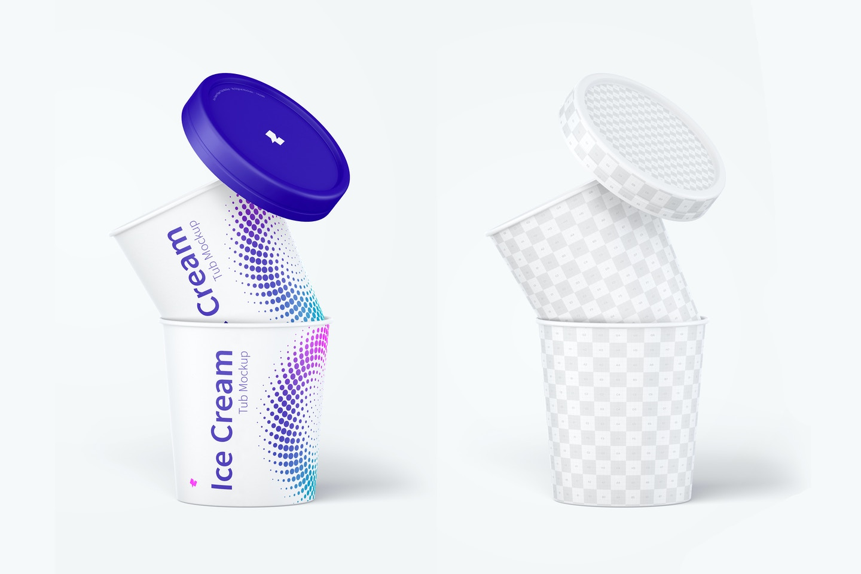 500ml Ice Cream Paper Tub Mockup