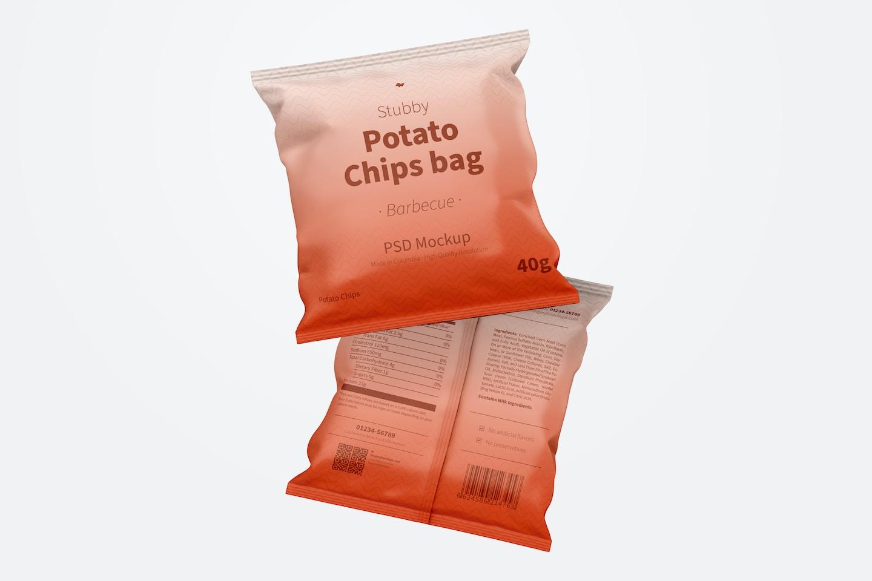 Stubby Chips Bag Mockup, Floating