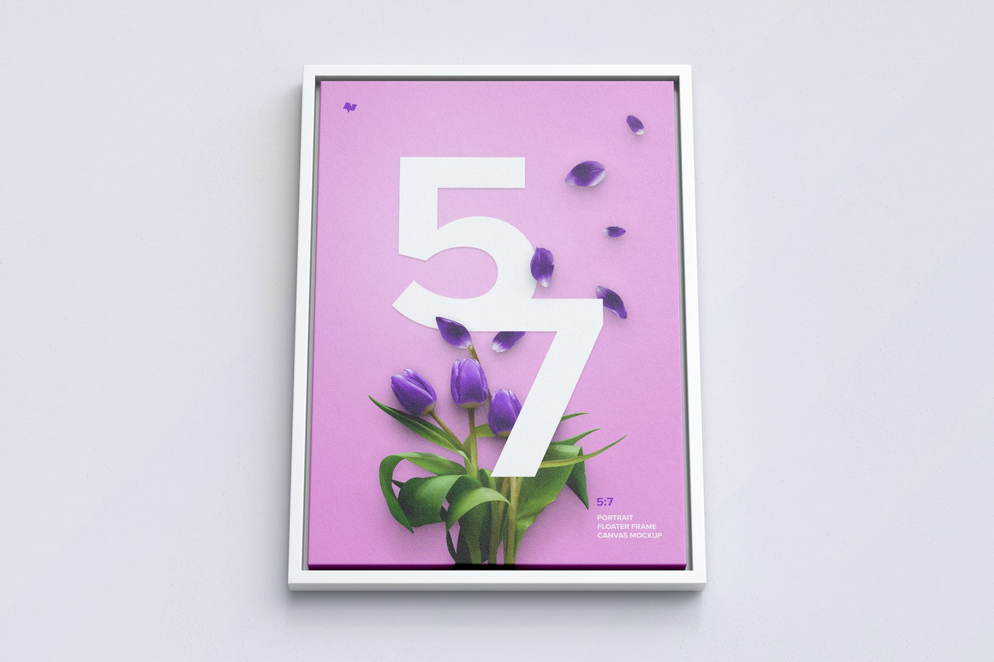 5:7 Portrait Canvas Mockup in Floater Frame, Bottom Front View