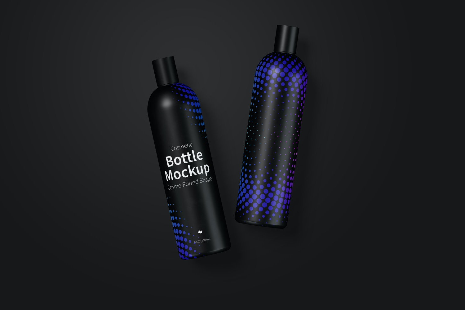 8 oz / 240 ml Cosmo Round Shape Cosmetic Bottles Mockup with Disc Cap in Front View