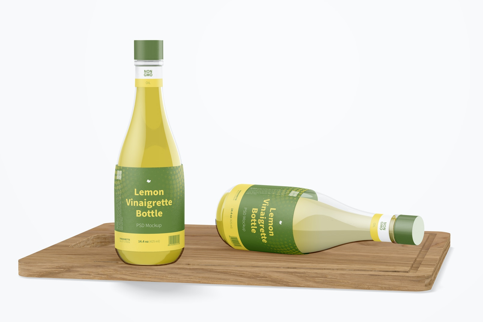 14.5 oz Lemon Vinaigrette Bottle Mockup, Standing and Dropped