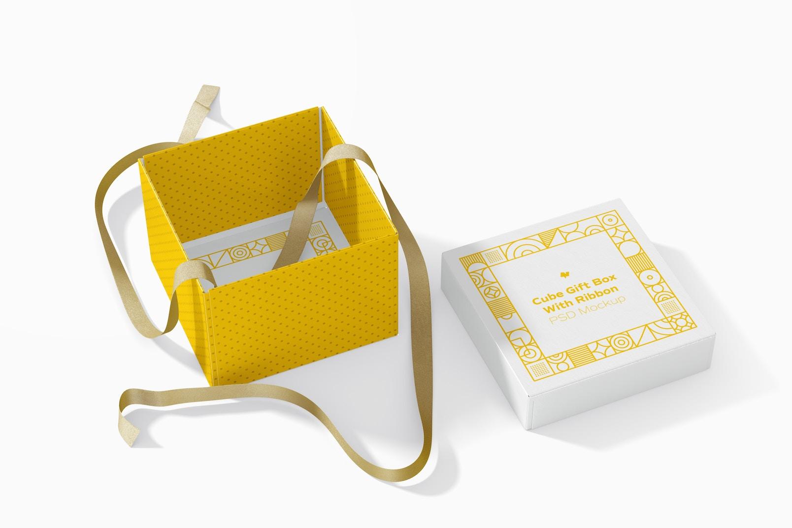 Cube Gift Box With Ribbon Mockup, Opened