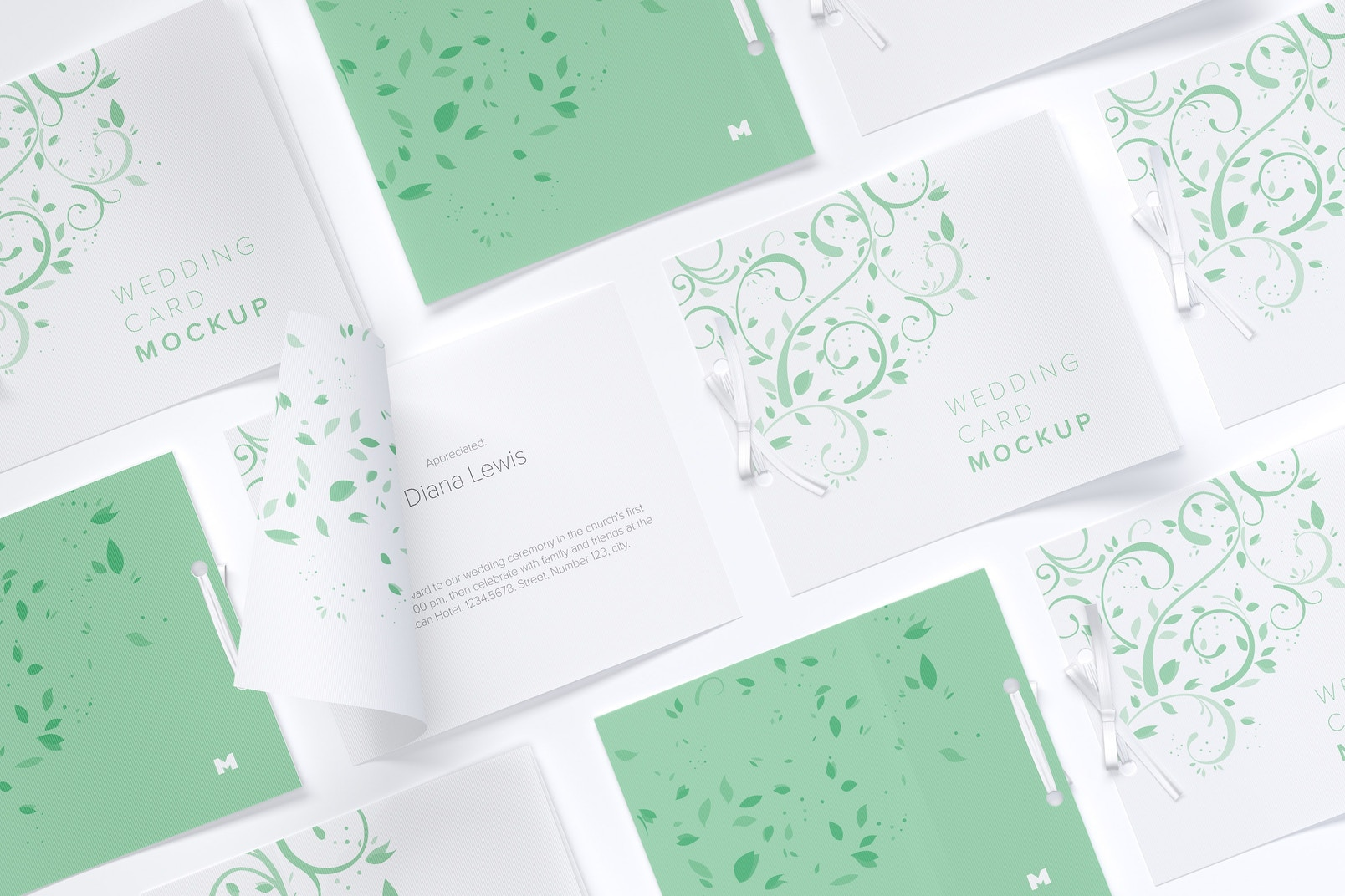 Wedding Cards Mockup, Grid Layout