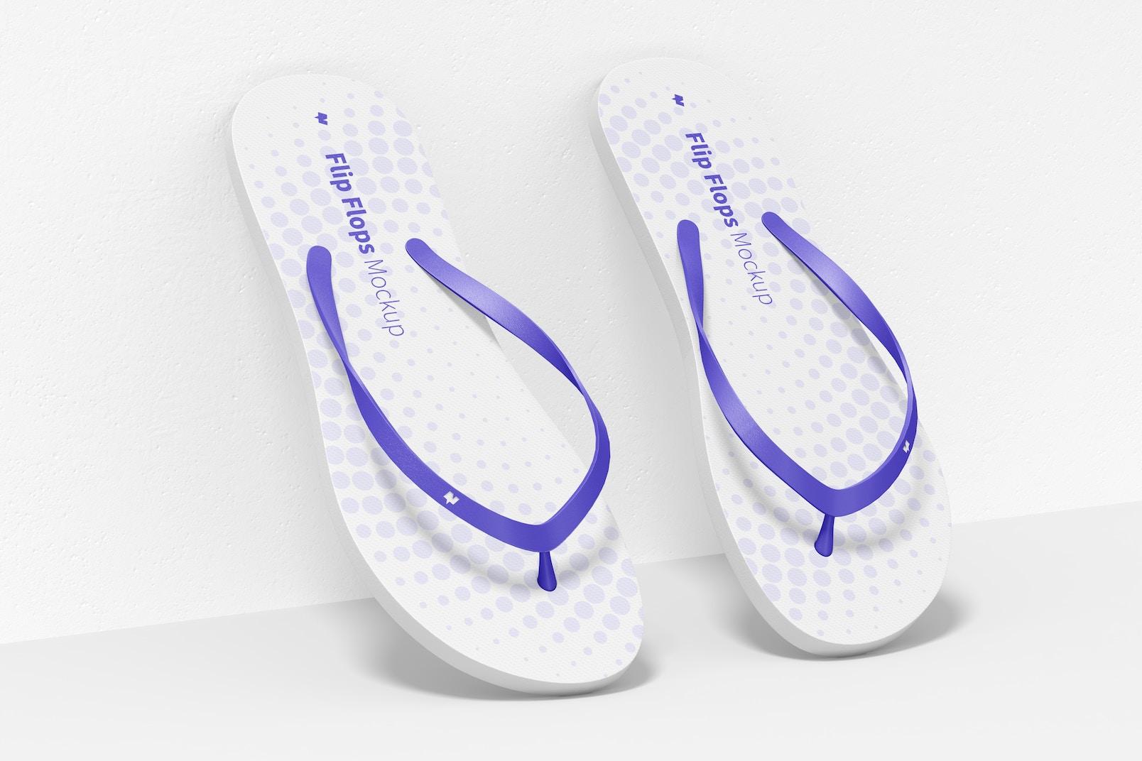 Flip Flops Mockup, Leaned