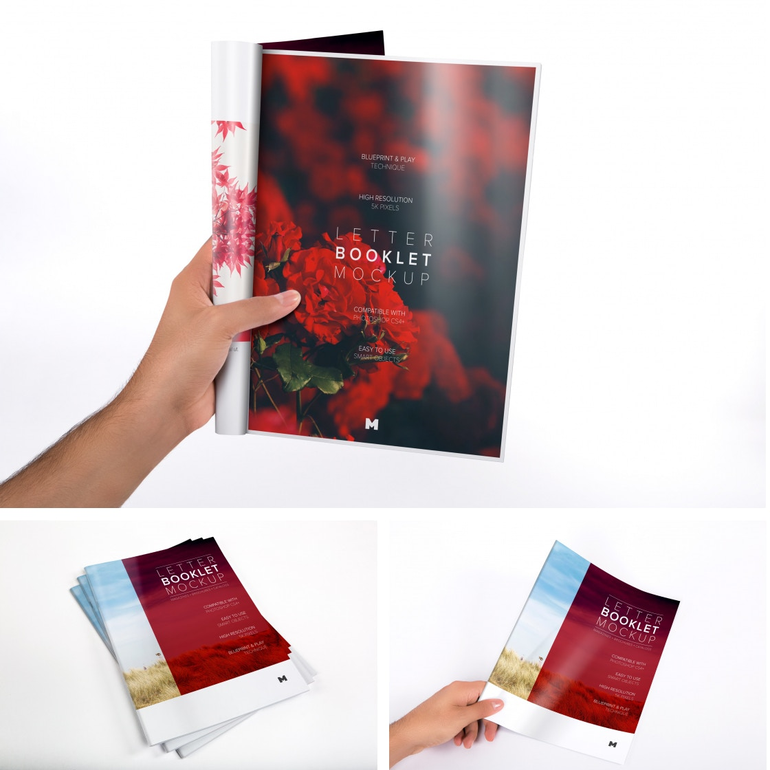 Letter Booklet Mockups by Original Mockups on Original Mockups