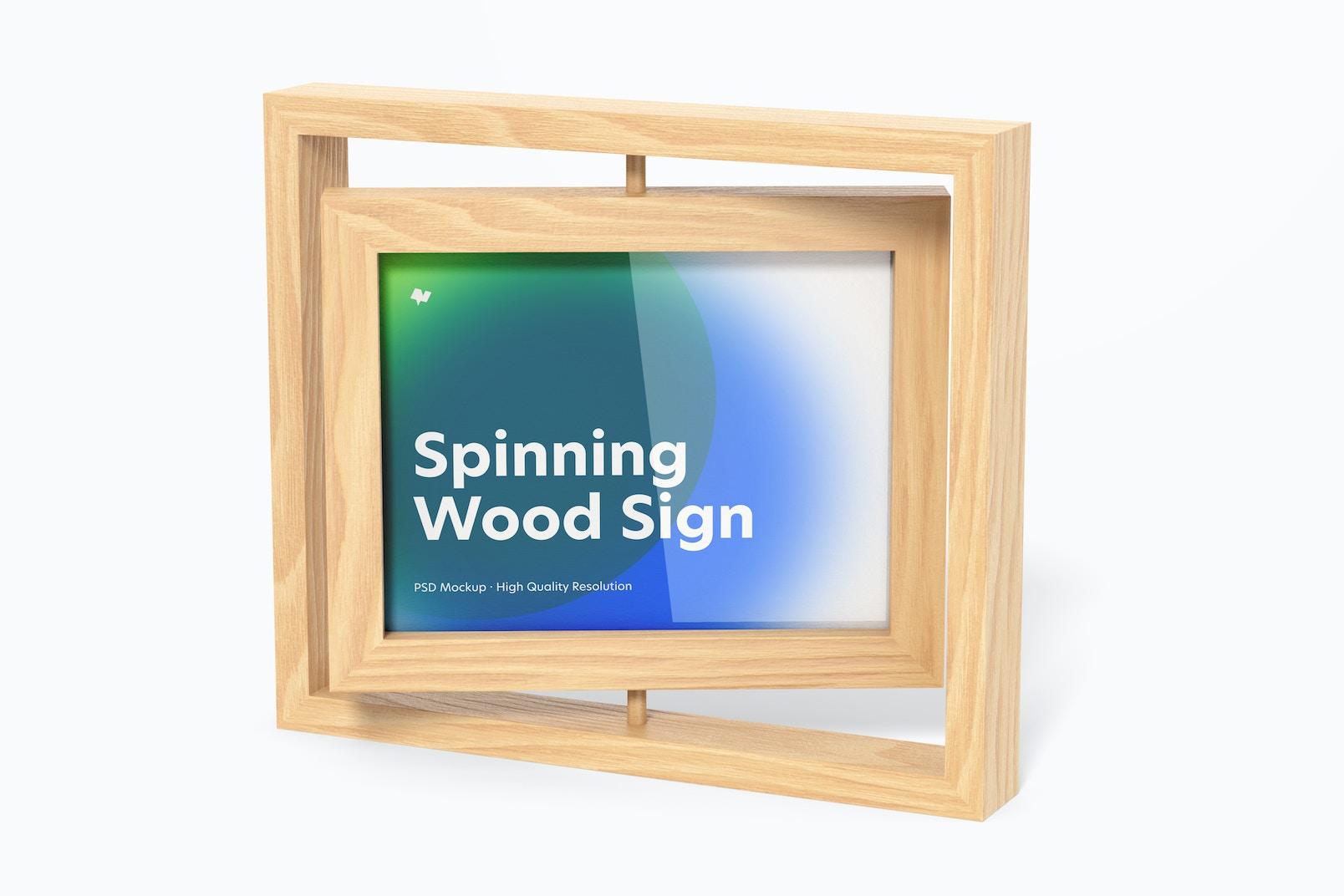 Spinning Wood Frame Sign Mockup