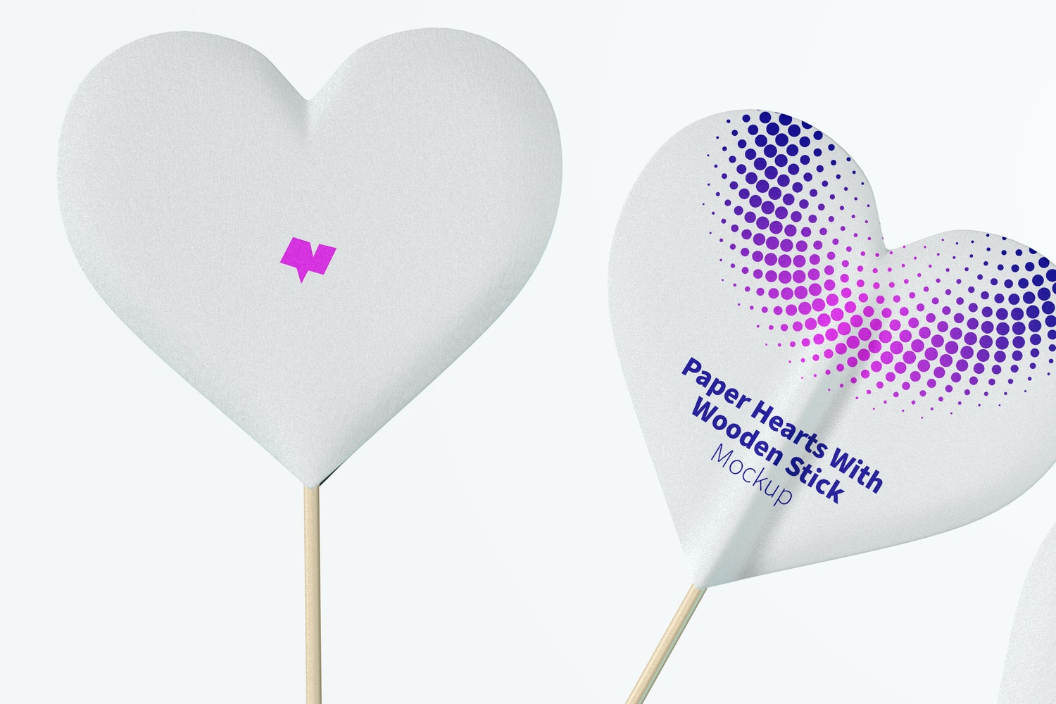 Paper Hearts With Wooden Stick Mockup