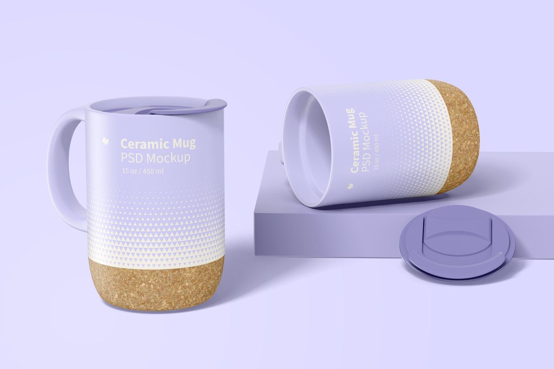 15 oz Ceramic Mug with Lid Mockup, Opened and Closed