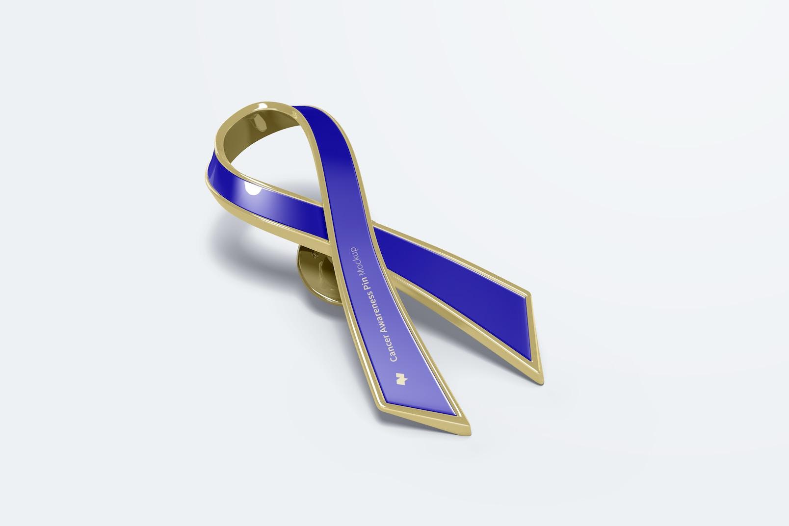 Cancer Awareness Pin Mockup, Perspective View