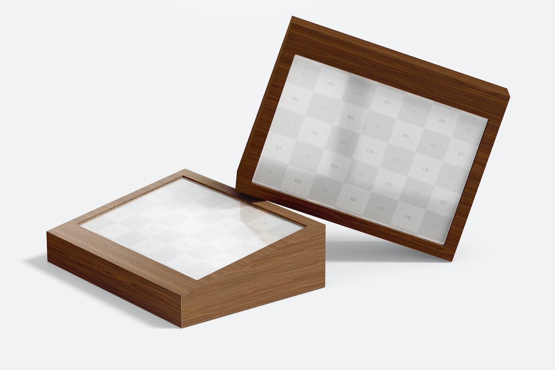 Wood Table Advertising Tag Signs Mockup