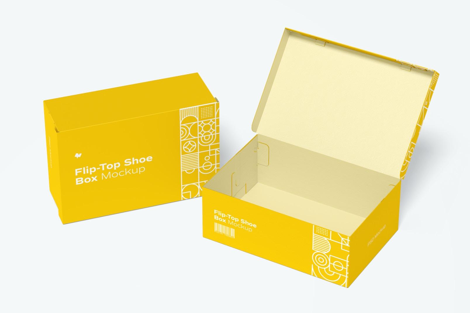 Flip-Top Shoe Boxes Mockup