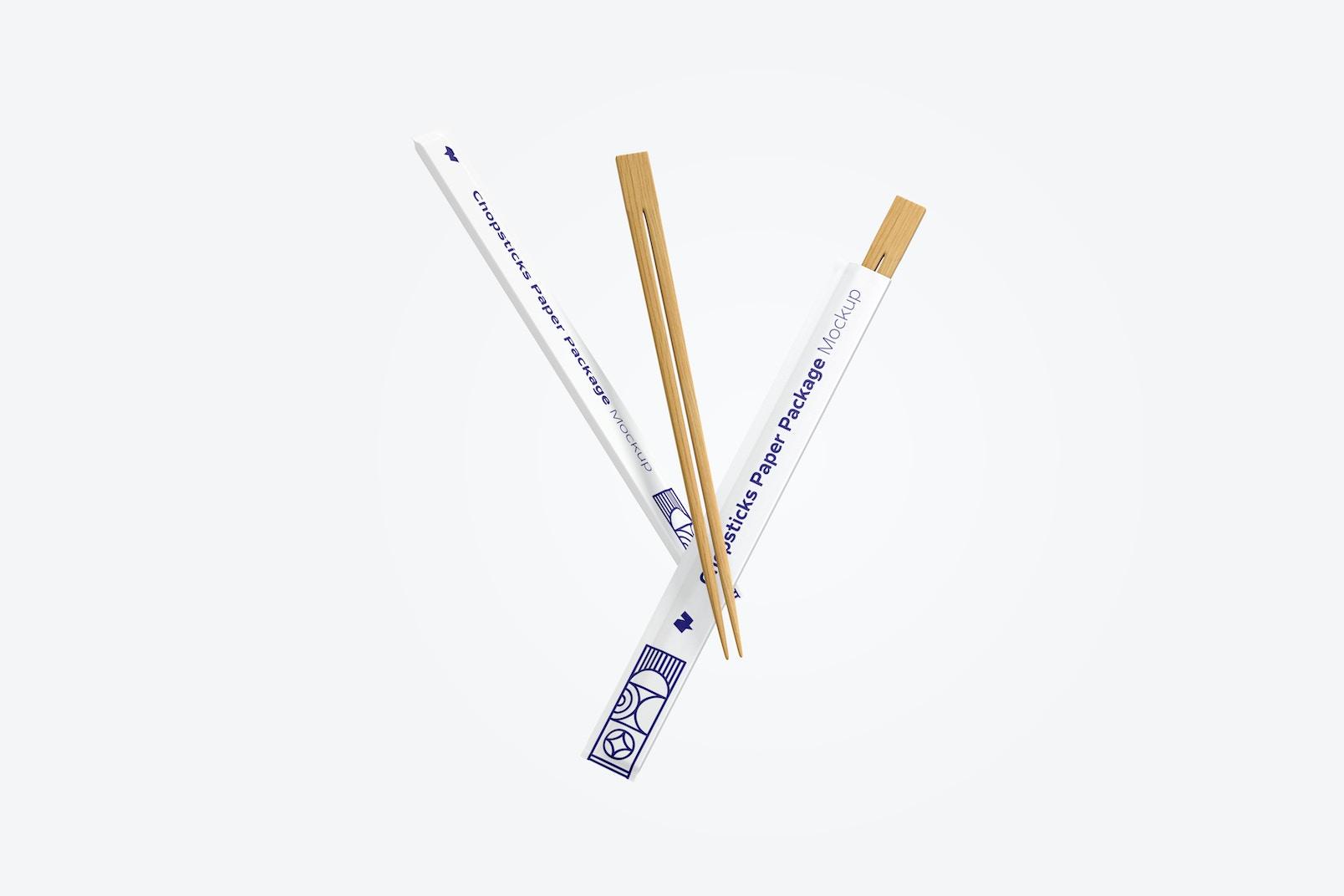 Chopsticks Paper Packages Mockup, Floating