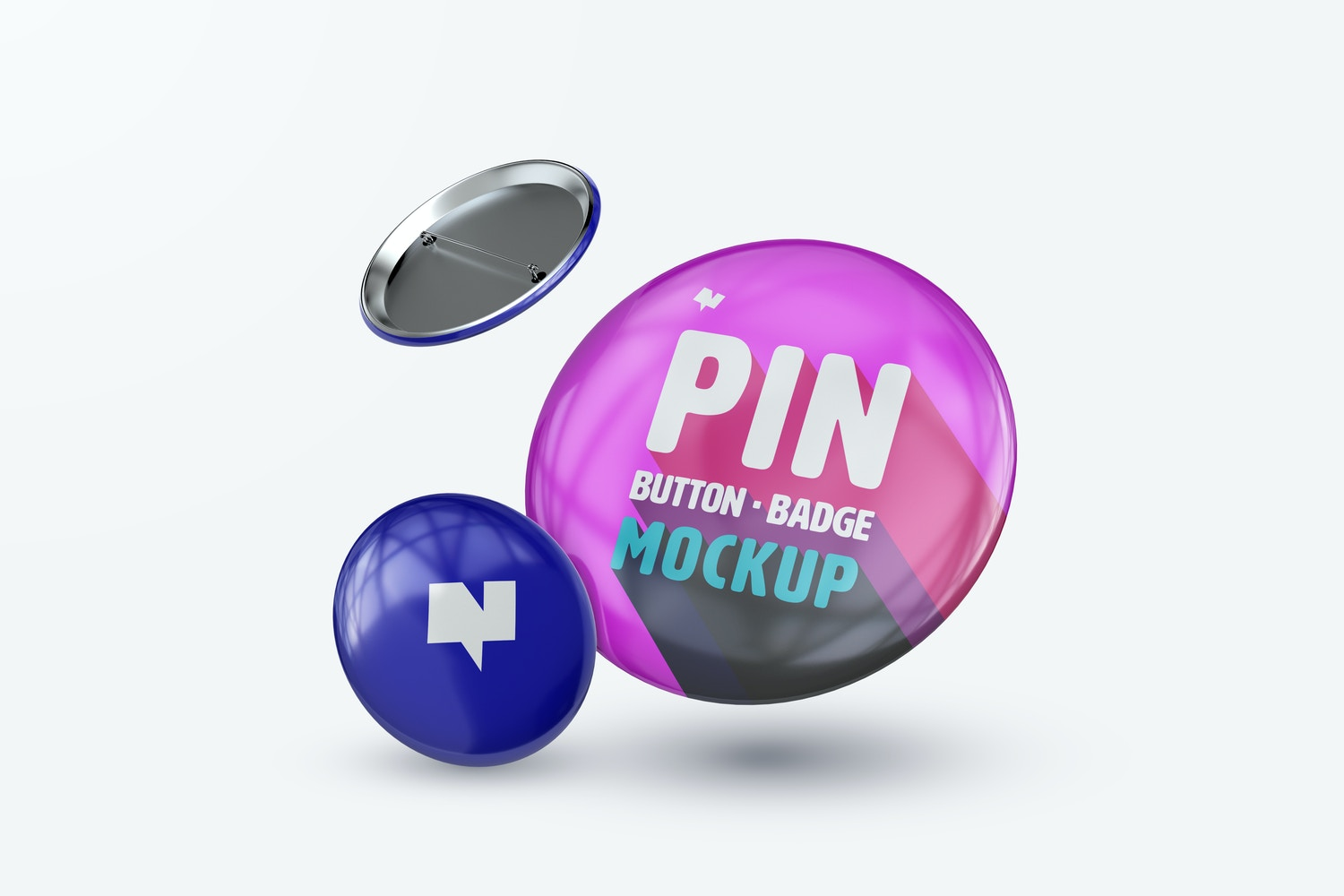 Pin Button Badges Mockup, Two Size Falling