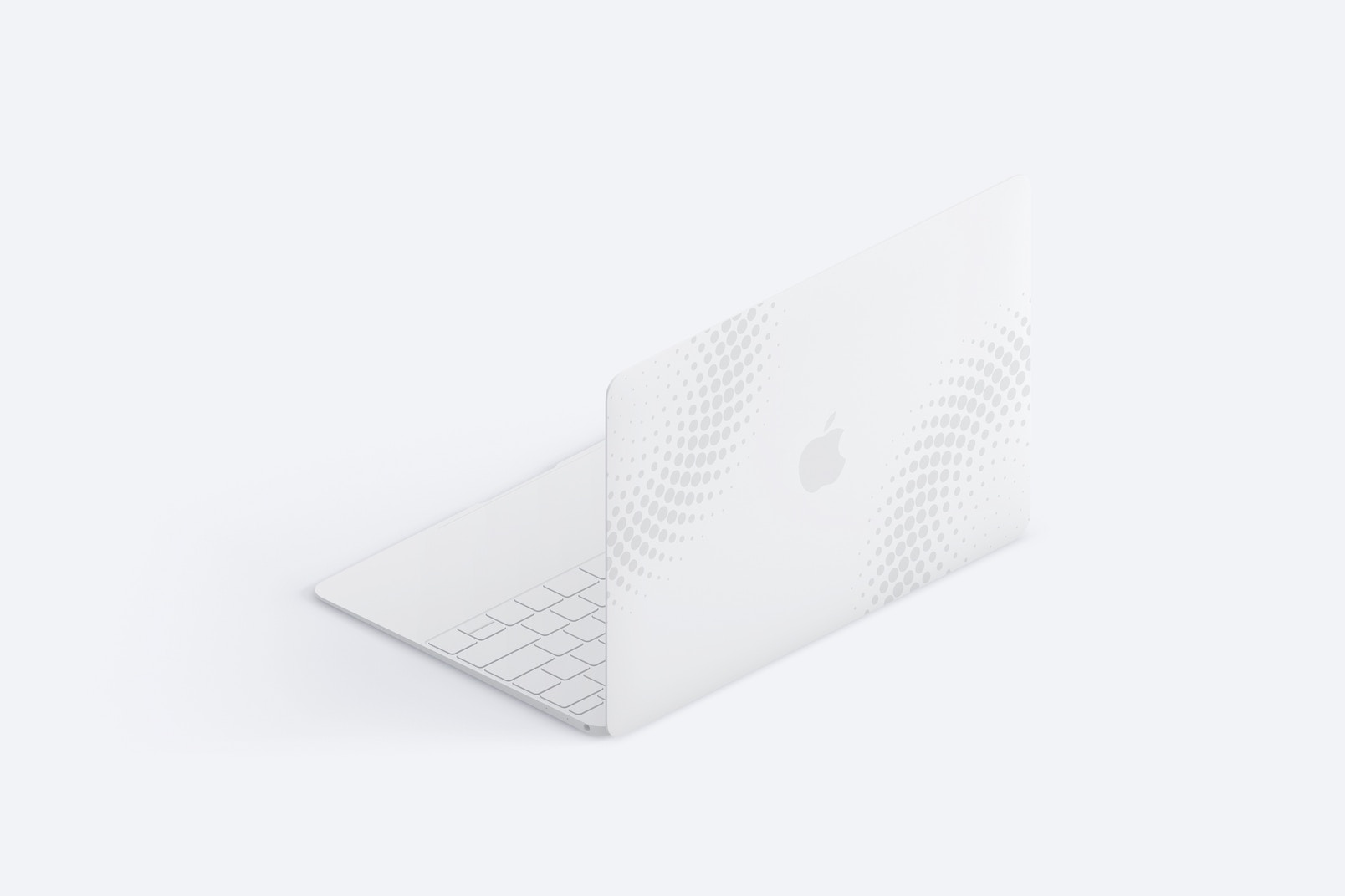 Clay MacBook Mockup, Isometric Back Right View