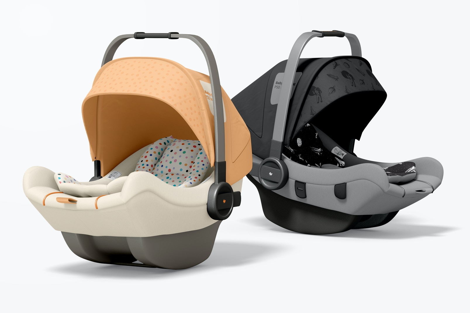 Baby Car Seats Mockup, Perspective
