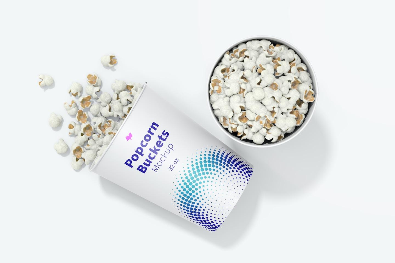 32 oz Popcorn Buckets Mockup, Top View