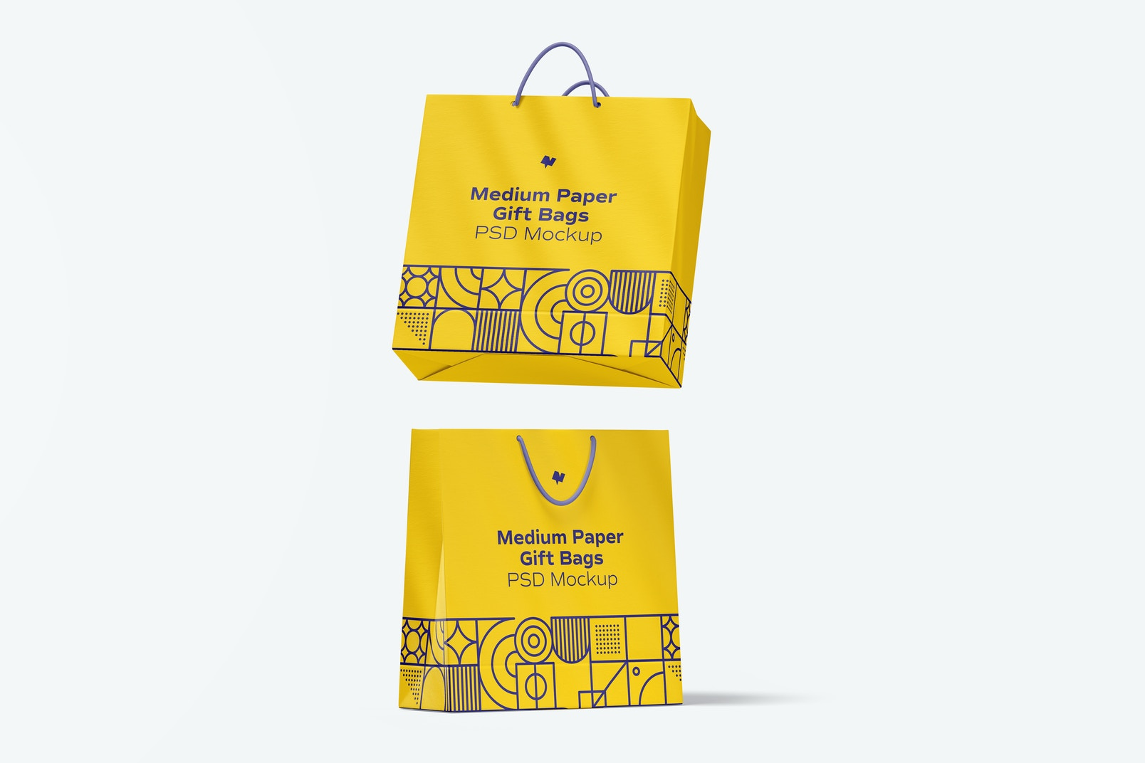 Medium Paper Gift Bag With Rope Handle Mockup, Falling