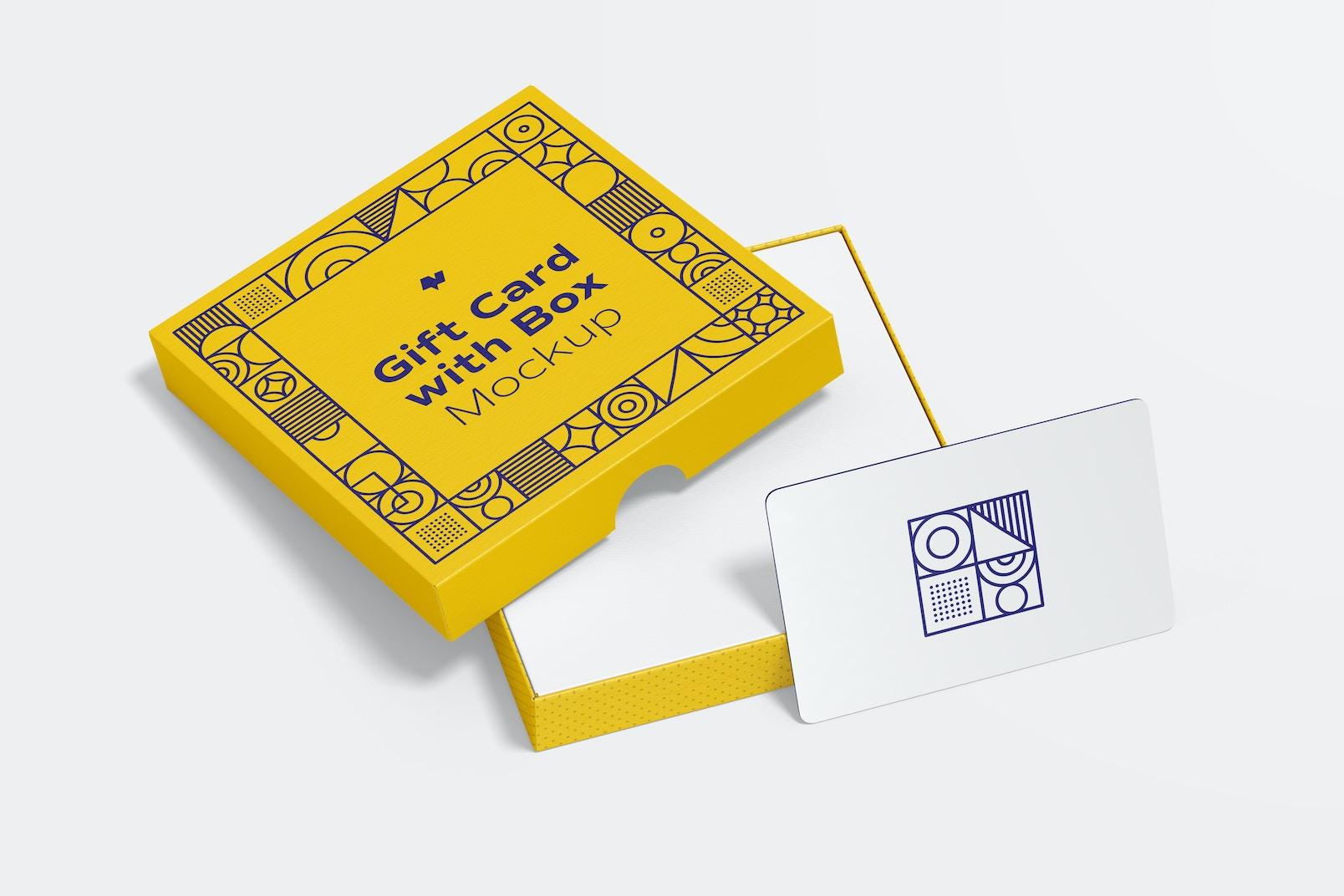 Maqueta de Tarjeta de Regalo con Caja, Perspectiva