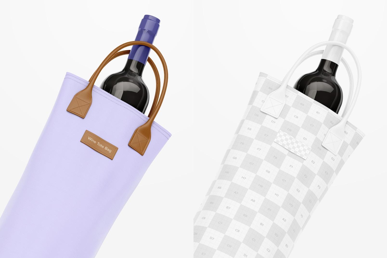 Wine Tote Bag Mockup, Close Up