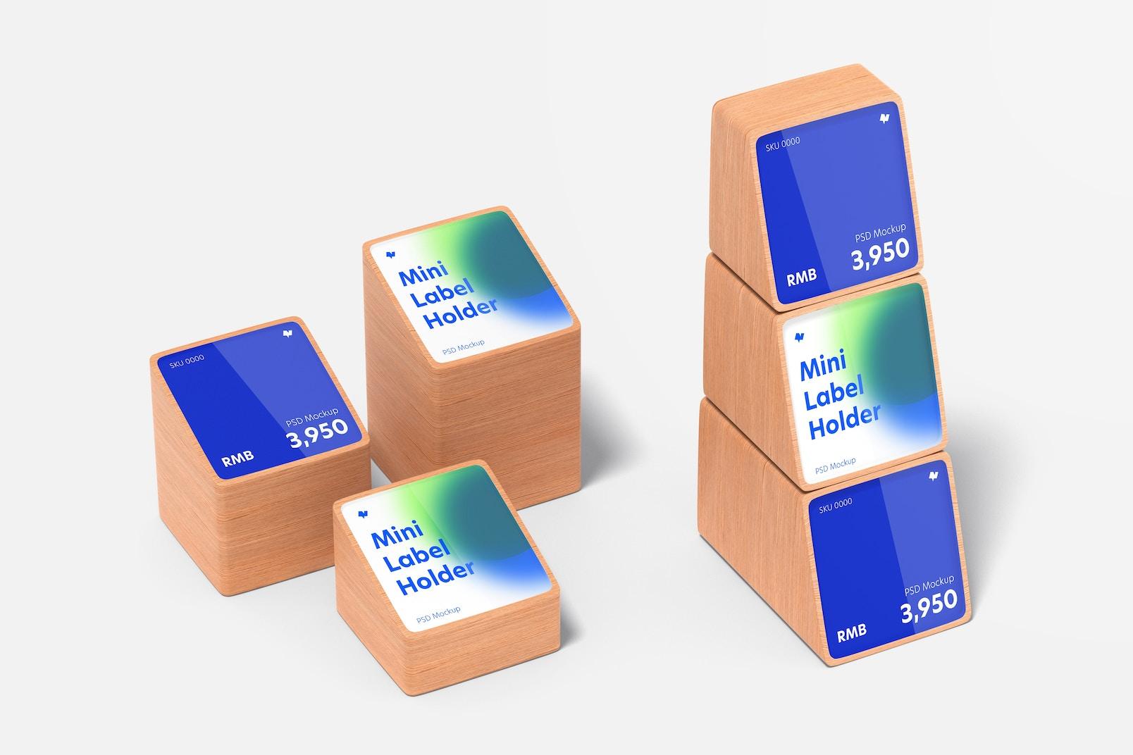 Wood Mini Price Label Holders Set Mockup