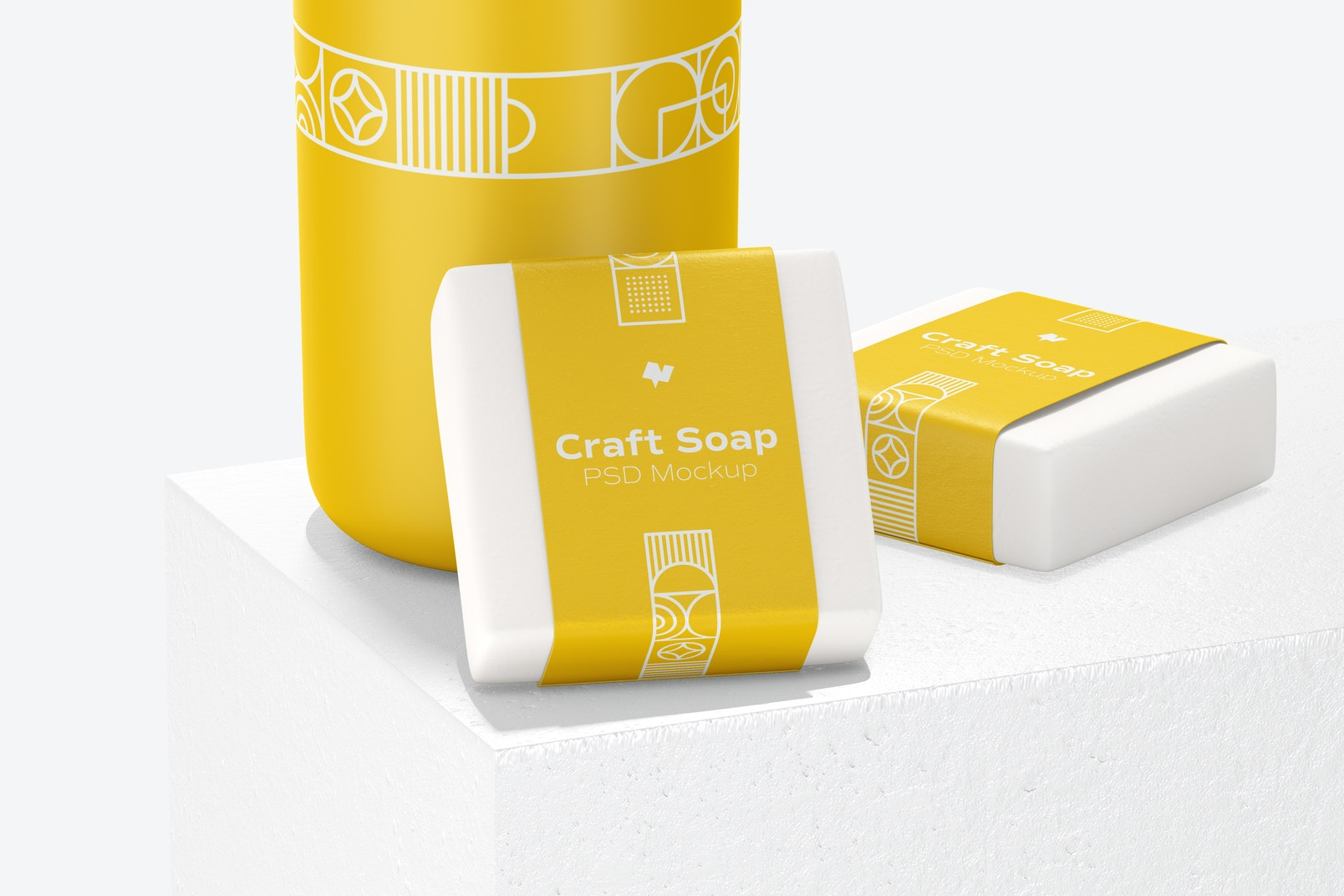 Craft Soap with Label Mockup with a Stone Stand