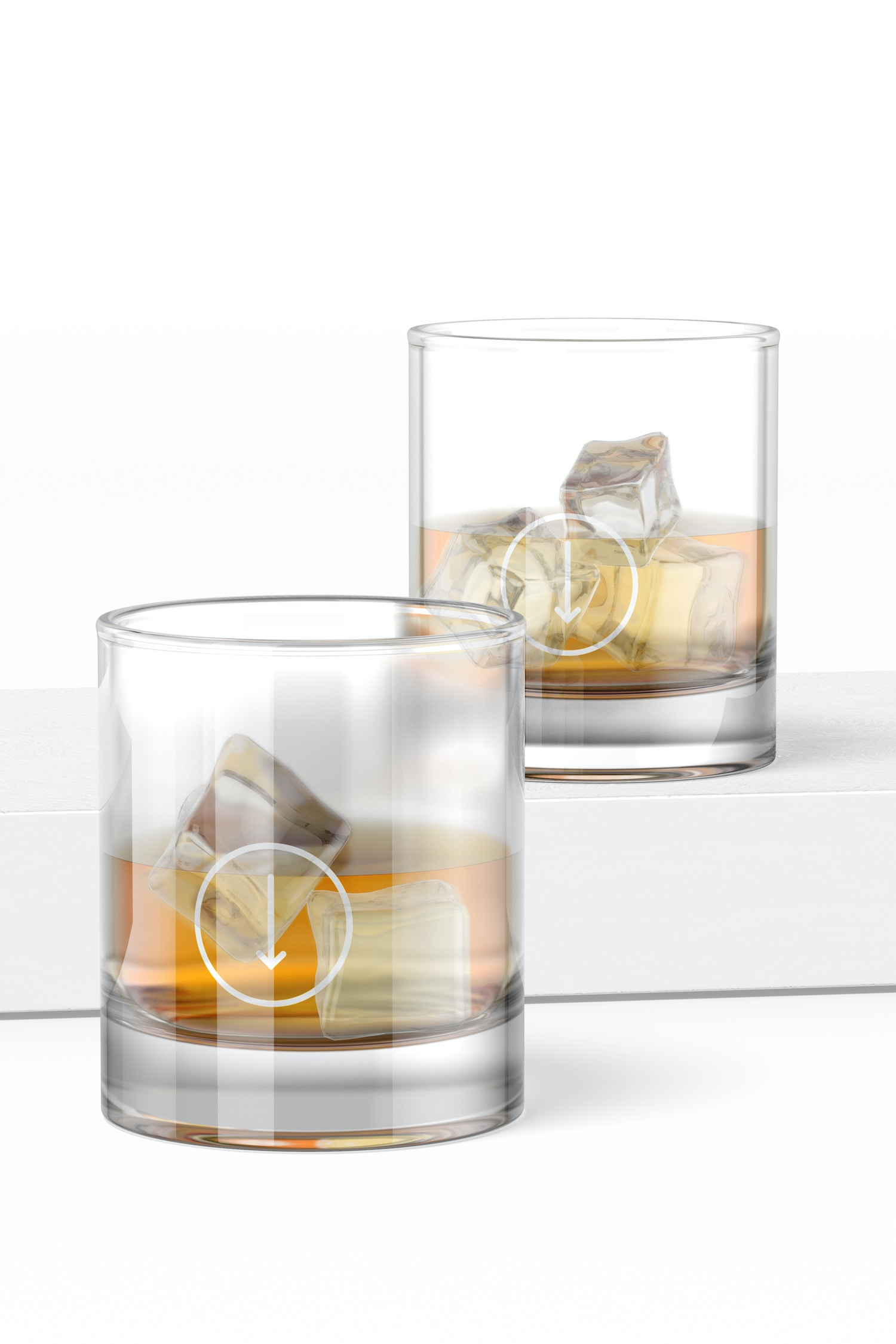 11 oz Whiskey Glass Cups Mockup, Perspective
