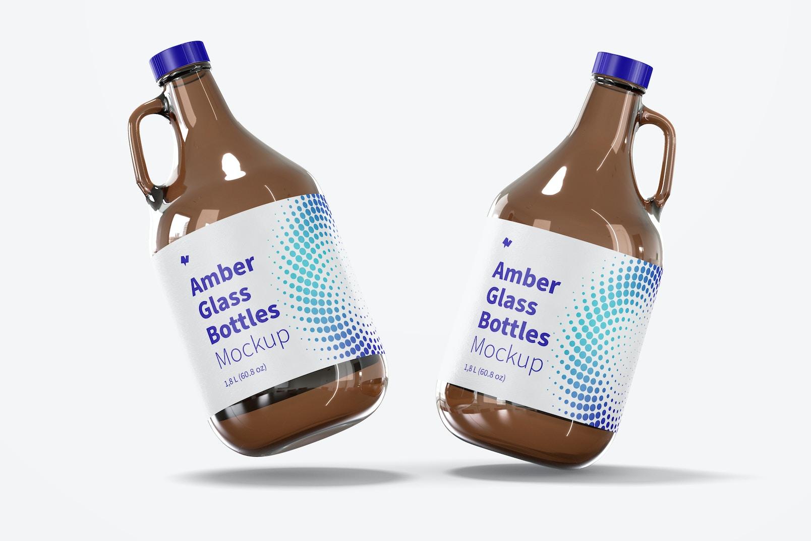 Amber Glass Bottles with Handle Jar Mockup, Falling