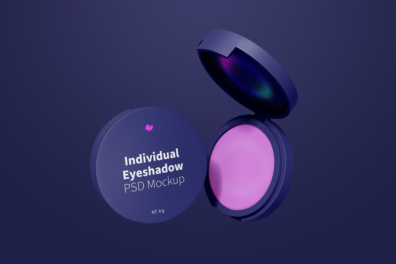 Round Individual Eyeshadows Mockup, Floating