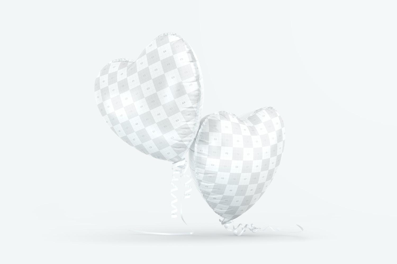 Heart Shaped Foil Balloons Mockup, Falling