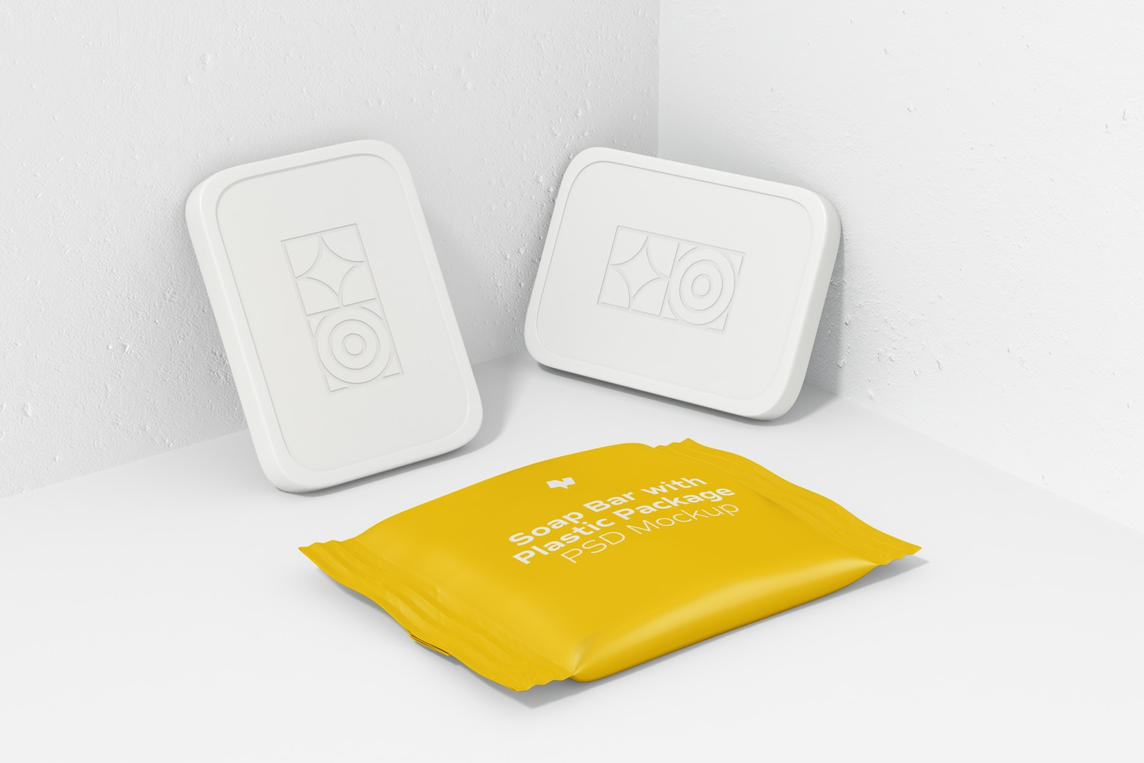 Soap Bars with Plastic Package Mockup