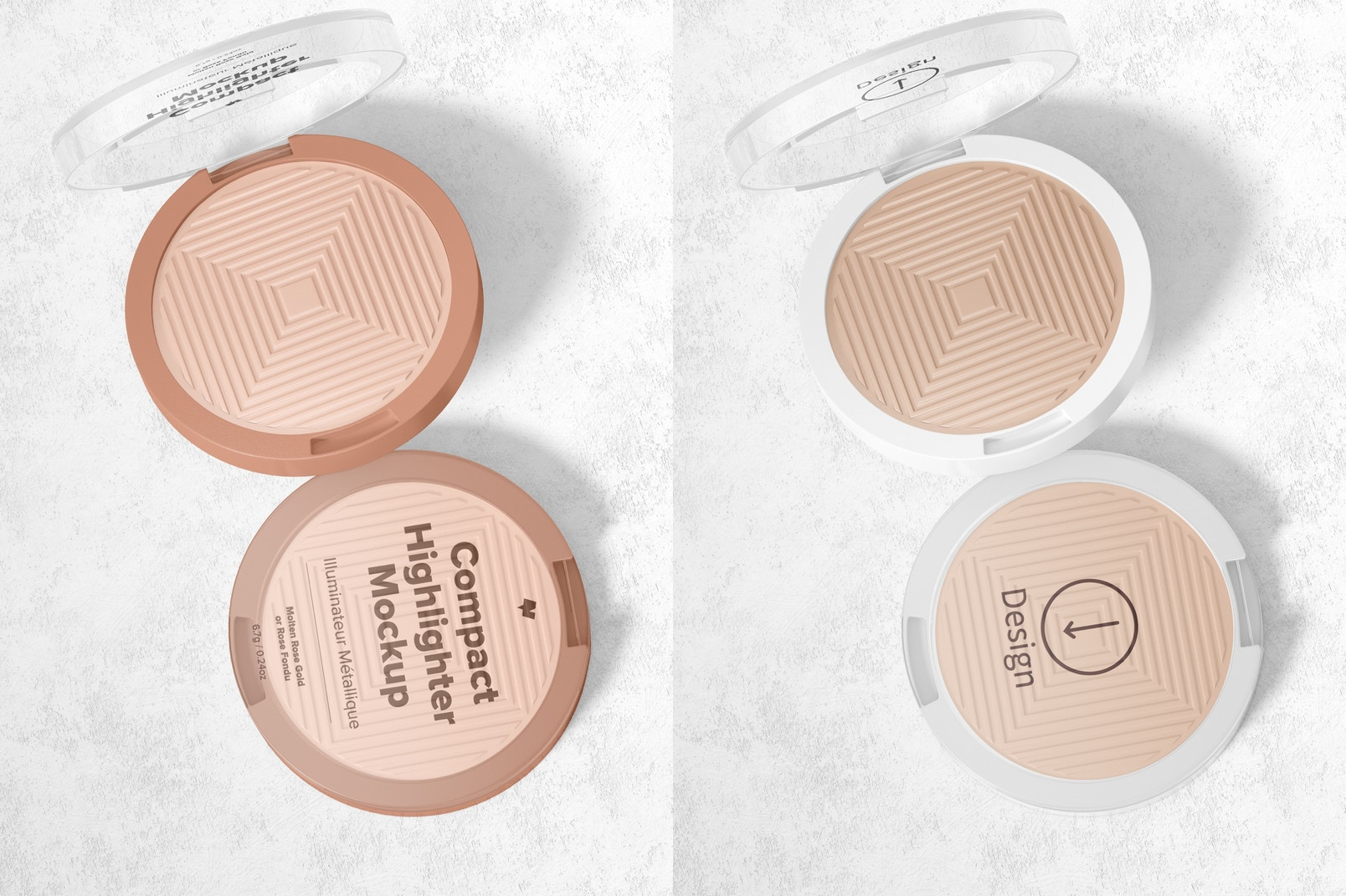 Compact Highlighter Packaging Mockup, Top View
