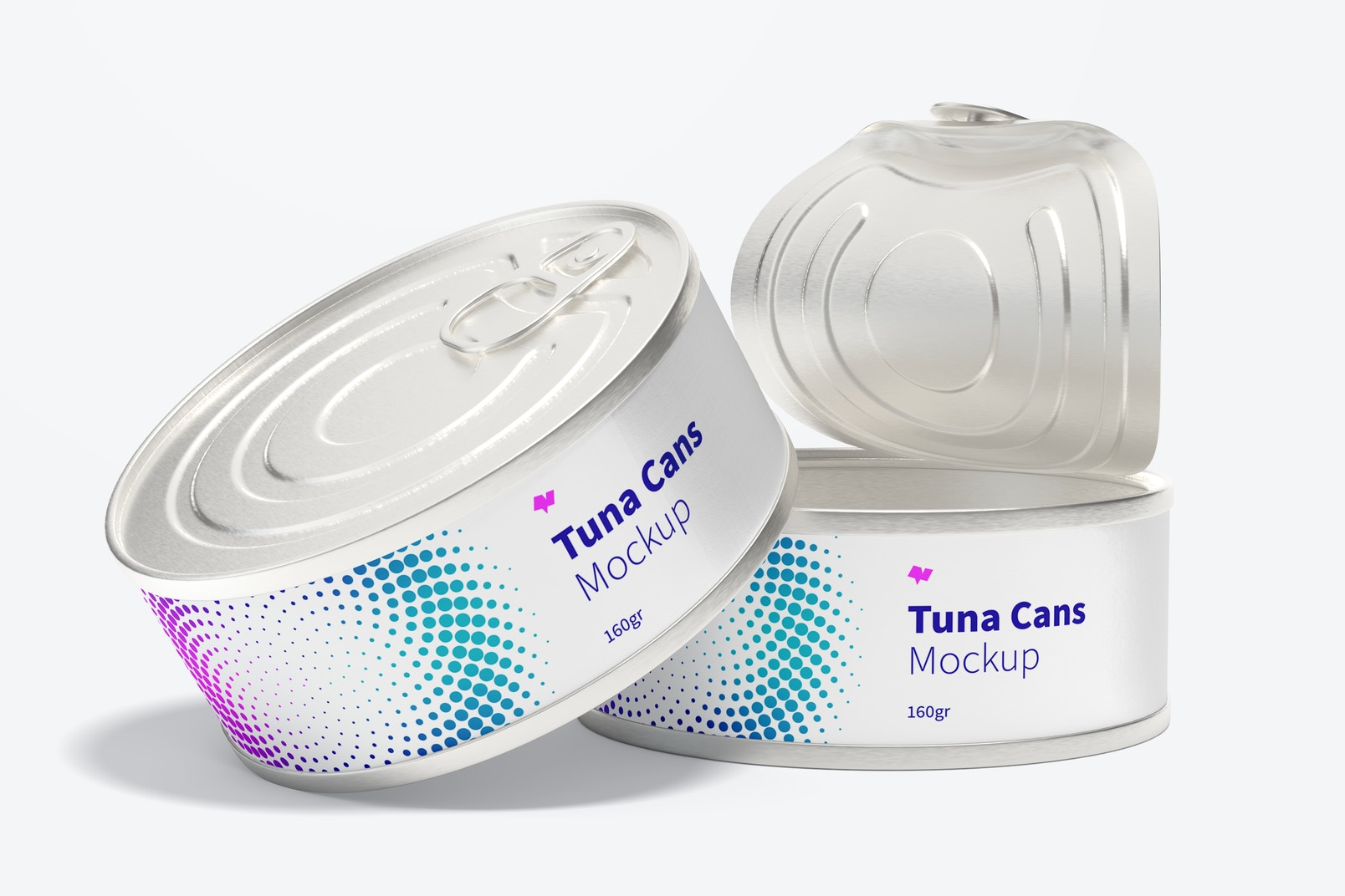 160gr Tuna Cans Mockup, Open and Close
