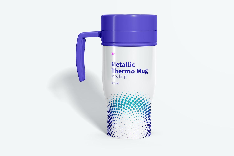 Glossy Metallic Thermo Mug Mockup, Front View