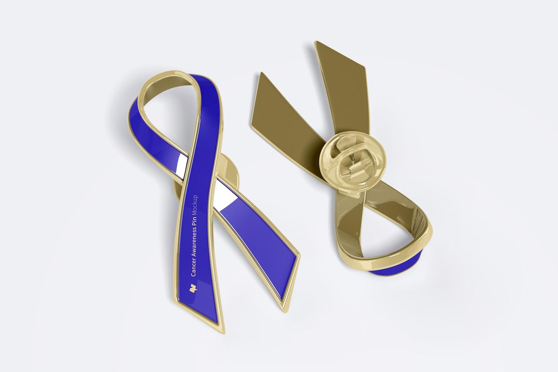 Cancer Awareness Pin Mockup, Front and Back