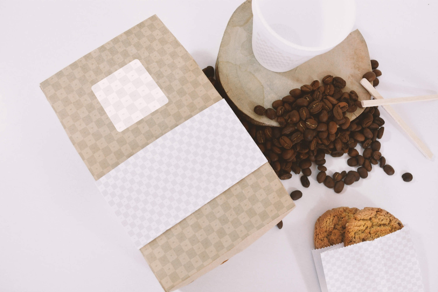 Coffee Bag and Cup Mockup Top View