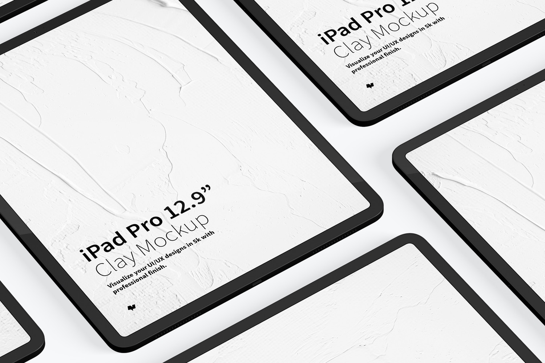 "Clay iPad Pro 12.9"" Mockup, Grid Layout 02"