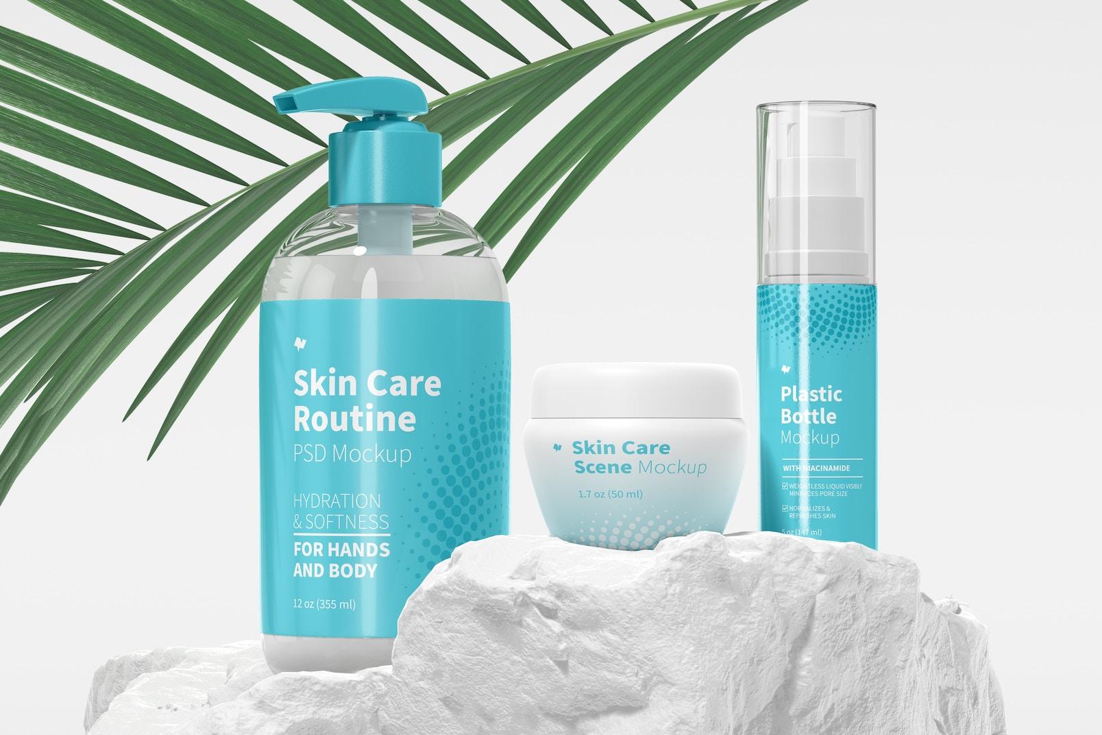 Skin Care Routine Scene Mockup, Front View