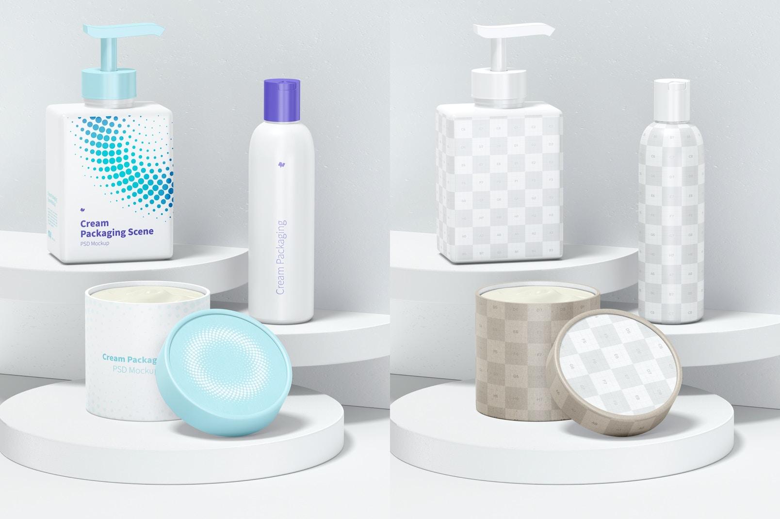 Cream Packaging Scene Mockup