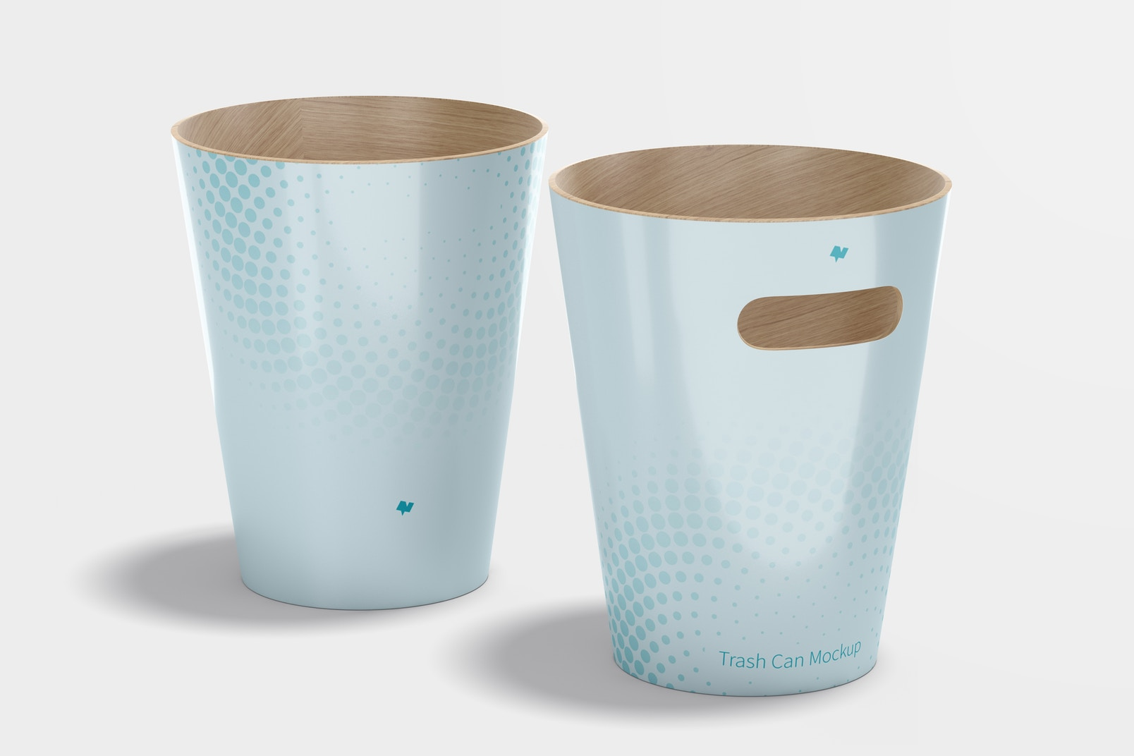 Wood Trash Can Mockup, Front and Back