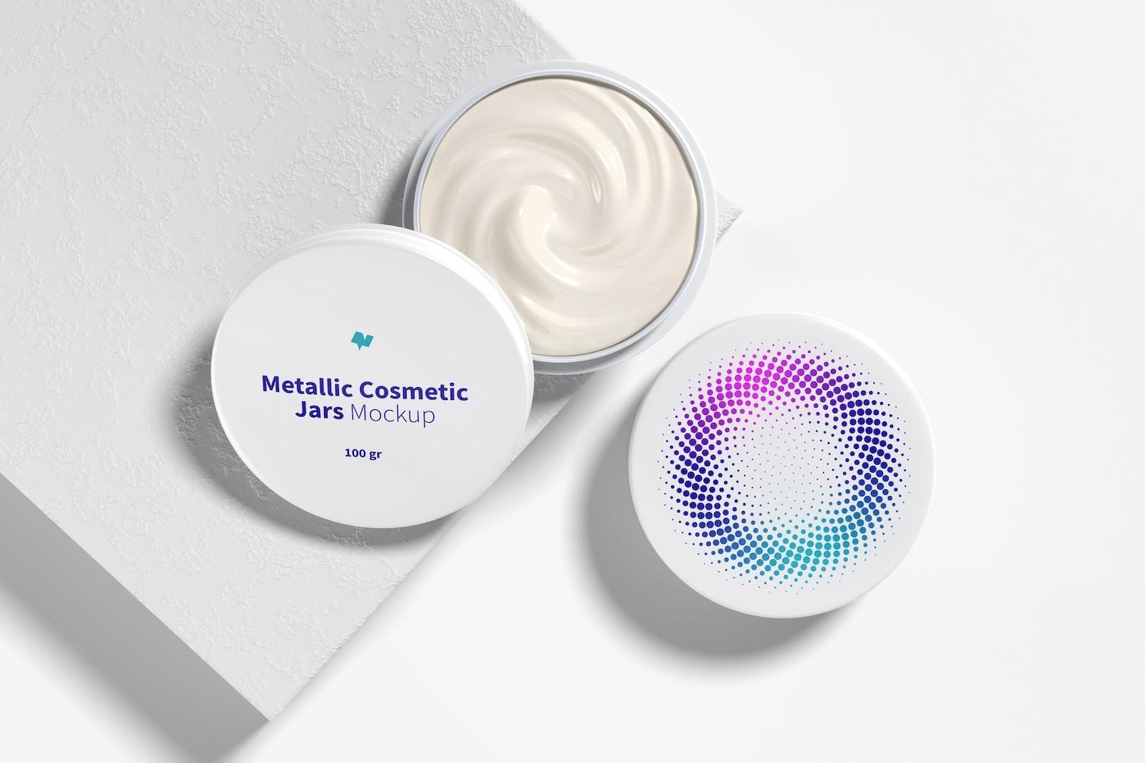 100 g Metallic Cosmetic Jars Mockup, Opened and Closed