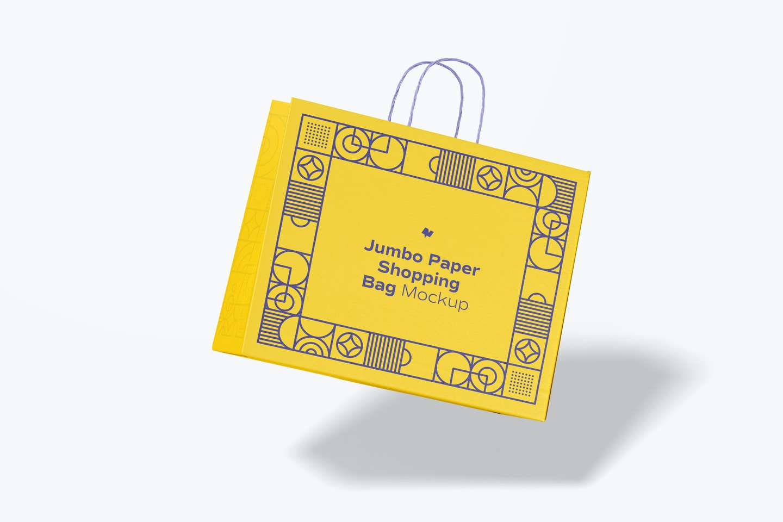 Jumbo Paper Shopping Bag Mockup, Falling