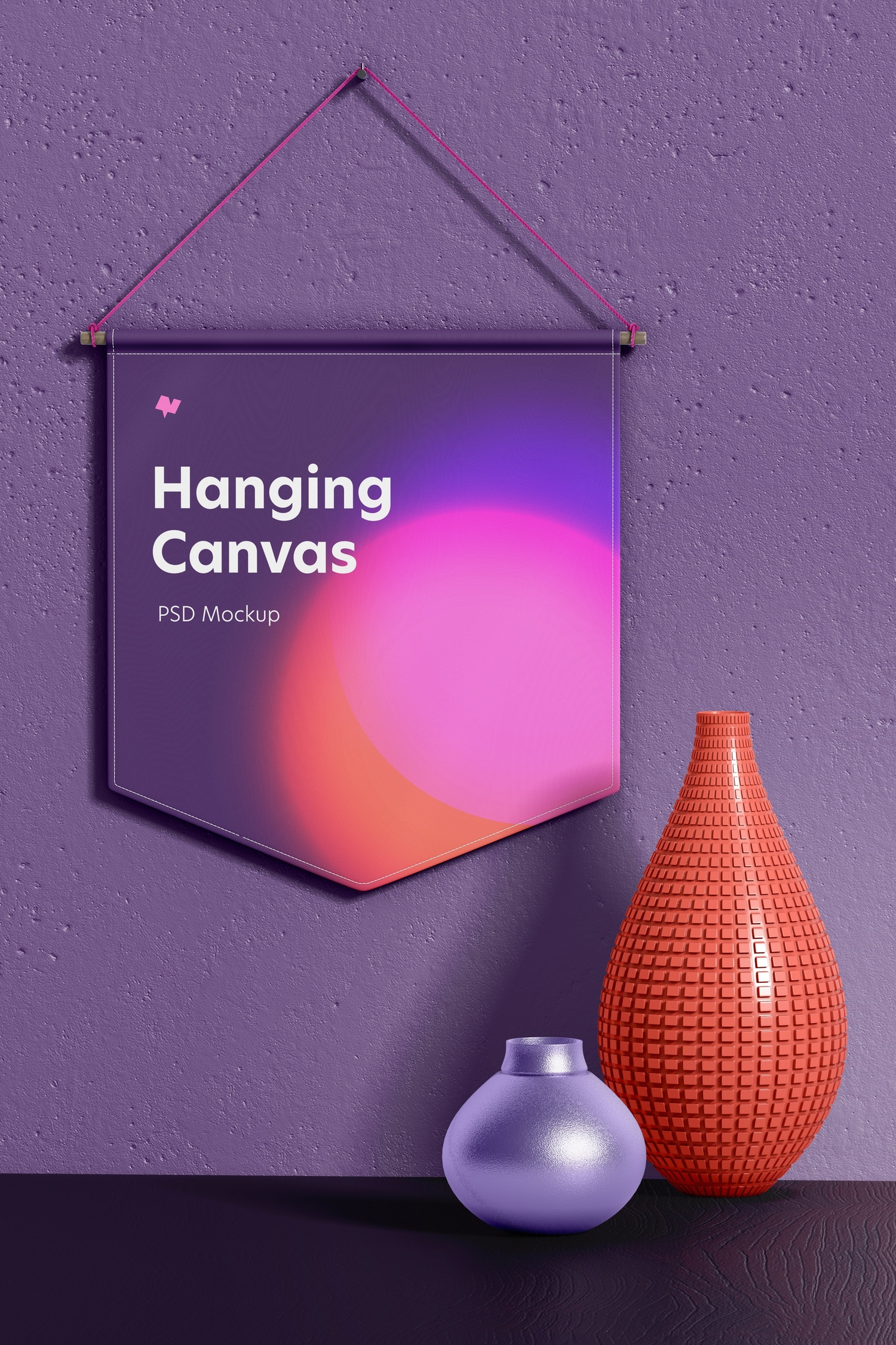 Hanging Canvas Pennant Mockup, Front View