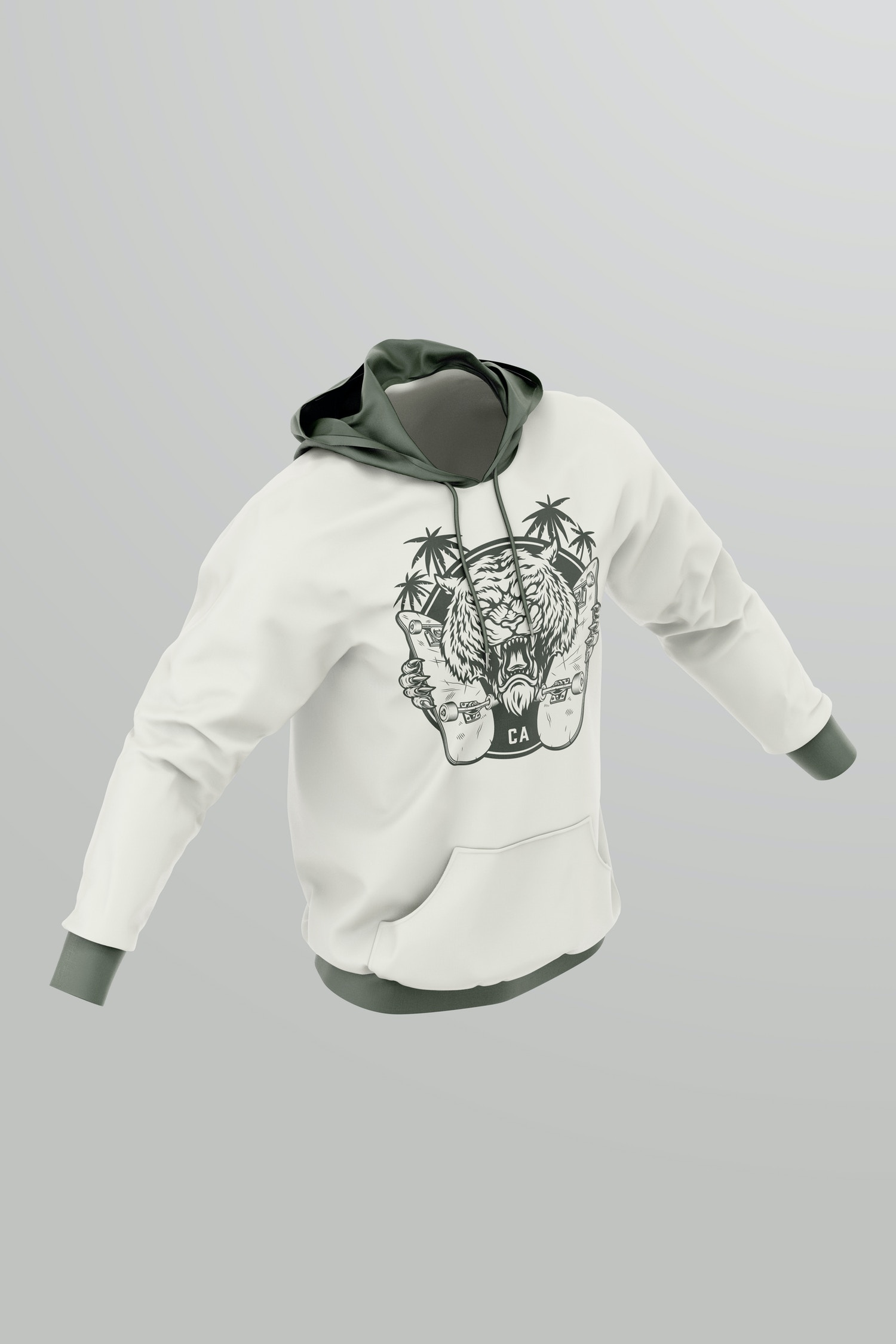 Hoodie Mockup, Isometric Right View